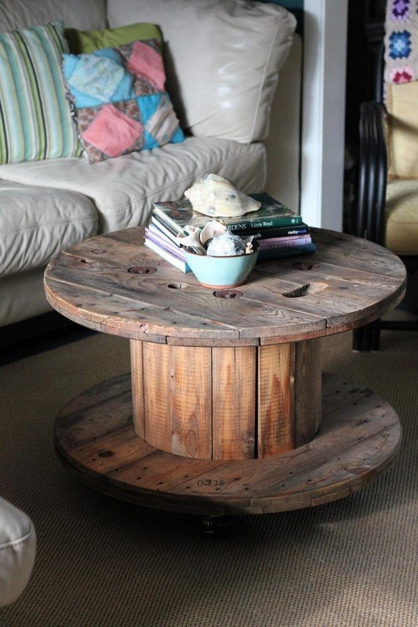 Old Wooden Spool Ottoman.