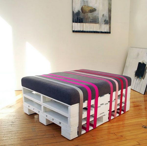 Pallet wrapped Ottoman.