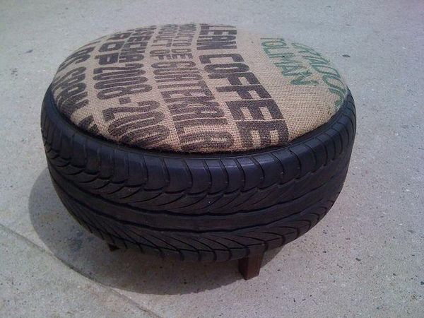 Used Burlap And Tire Ottoman.