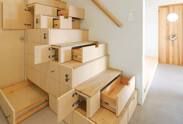 crazy stair storage. The space under a staircase can be used to keep everyday clutter out of the way.