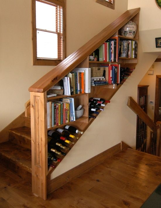 stairs side storage. The space under a staircase can be used to keep everyday clutter out of the way.