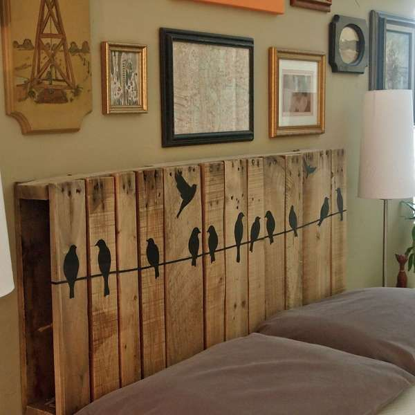 Upcycled Pallet Headboard. Not only served to isolate sleepers from drafts and cold in less insulated buildings, but also was a important decorative element in your bedrooms.