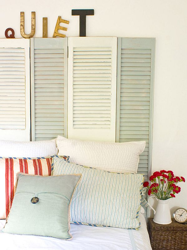 Shutter Headboard. Not only served to isolate sleepers from drafts and cold in less insulated buildings, but also was a important decorative element in your bedrooms.