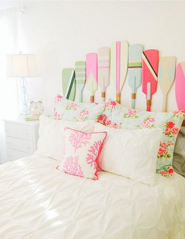 Adorable Painted Paddles Headboard. Not only served to isolate sleepers from drafts and cold in less insulated buildings, but also was a important decorative element in your bedrooms.