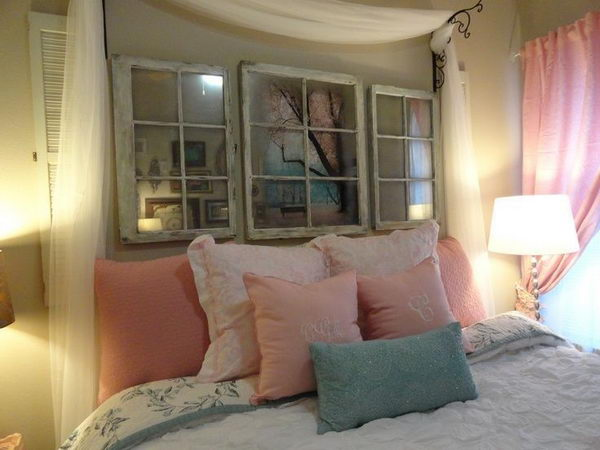 DIY Vintage Window Headboard. Not only served to isolate sleepers from drafts and cold in less insulated buildings, but also was a important decorative element in your bedrooms.