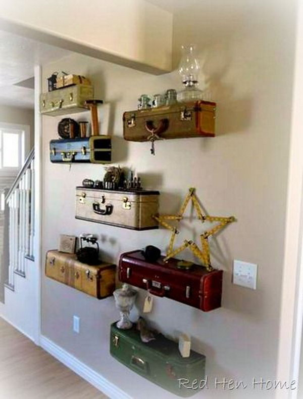 It Would Look Fantastic With These Vintage Suitcase Shelves Source