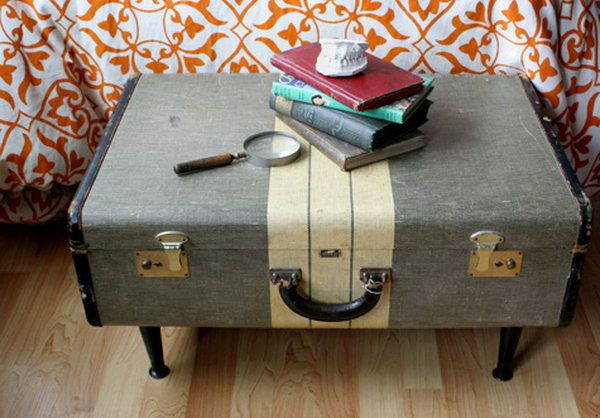 Vintage Suitcase Storage Bench,