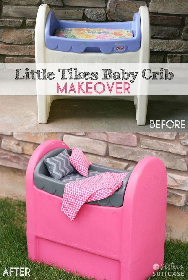 Spray Painted Plastic Baby Crib,