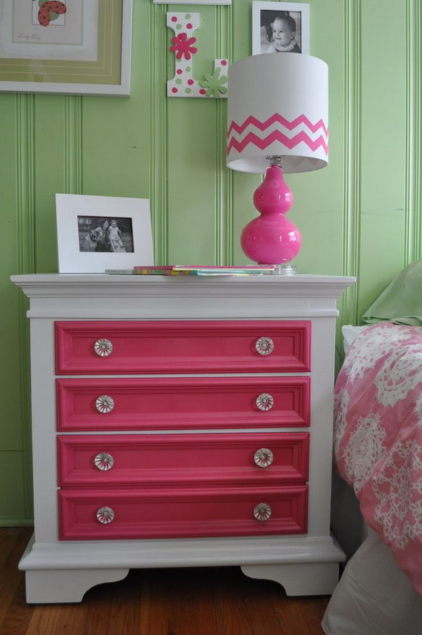 Take a simple nightstand and add bright colors to just the drawers.