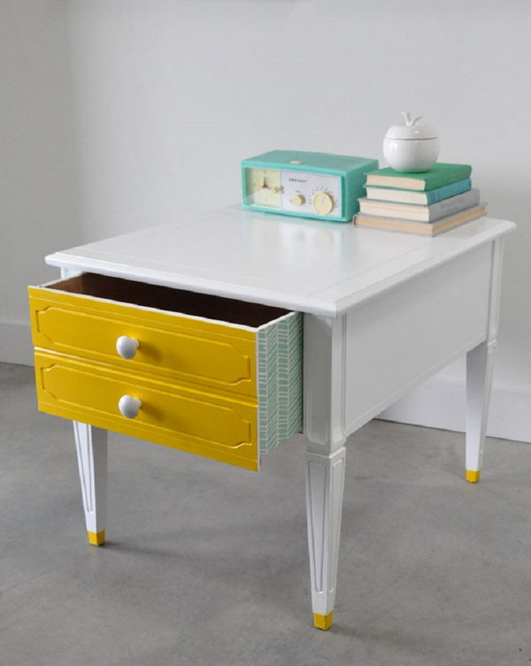 Vintage Side Table with Dipped Tips,
