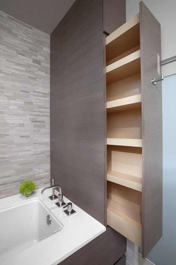 These crawl spaces and nooks in a bathroom can be creatively turned into organized storage.
