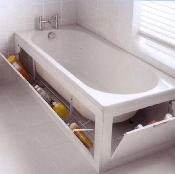 The built-in cabnet surrounding this tub provides enough space for extra cleaning sponges, shampoo, and soap.