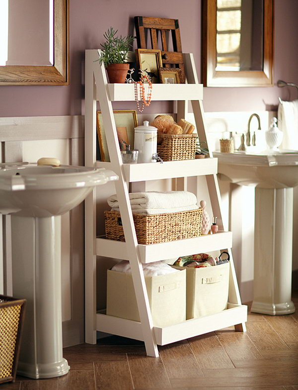This attractive bathroom ladder shelf provides plenty of space for towels, soap, cosmetics and more. You could co-ordinate this into any colour scheme and it would work perfectly.