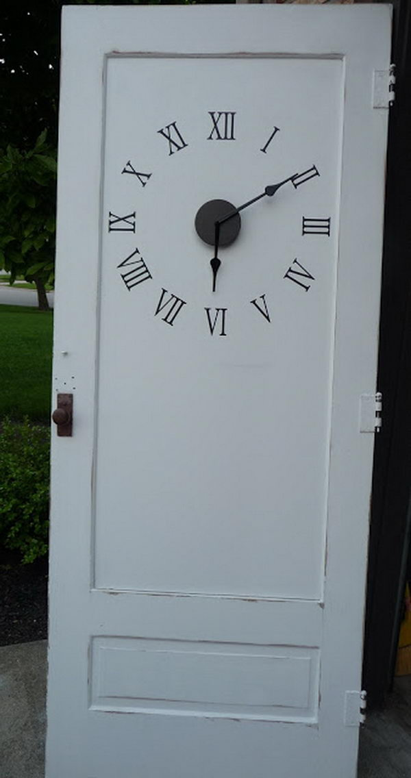 Repurposed old door clock for living room.