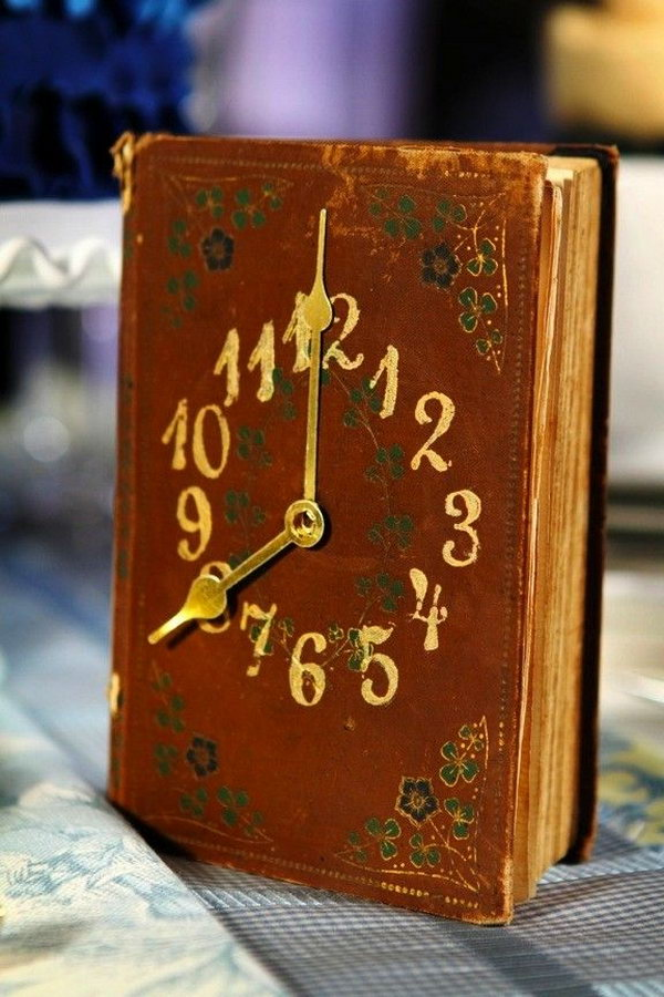 Turn an old book into a vintage style clock. It's a great gift idea for avid readers.