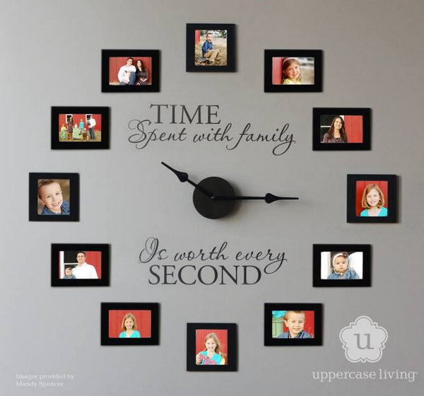 Time spent with family is worth every second. Picture frame wall clock idea.