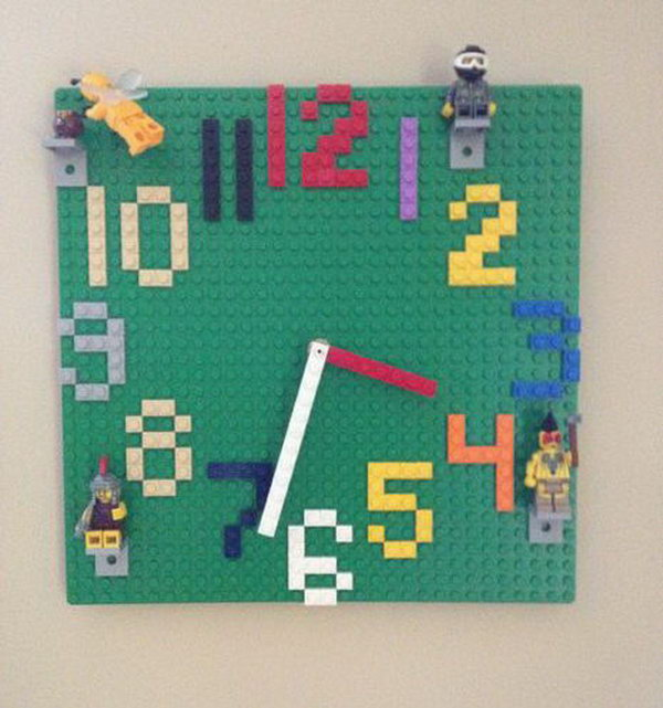 This fun Lego wall clock is not only great for decorating your kid's room but perfect for teaching time with its easy-to-read numbers.