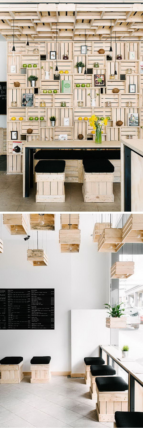 These wooden crates are used for shelves, stools and even chandeliers for a natural look.