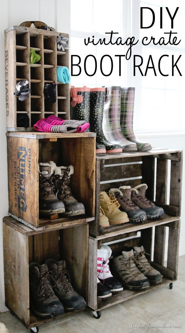 DIY vintage crate boot rack.
