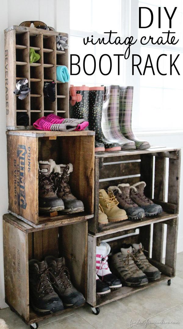 DIY vintage crate boot rack.