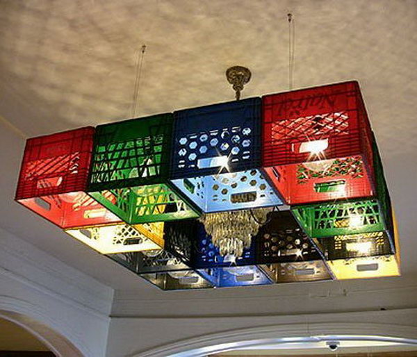 Pixel block style chandelier made from milk crates.