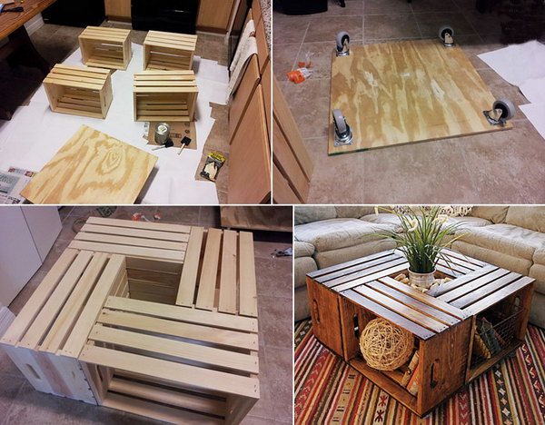 A stylish, rustic and functional DIY coffee table made from four wooden crates.