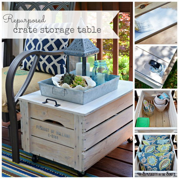 Repurposed wooden shipping crate table.
