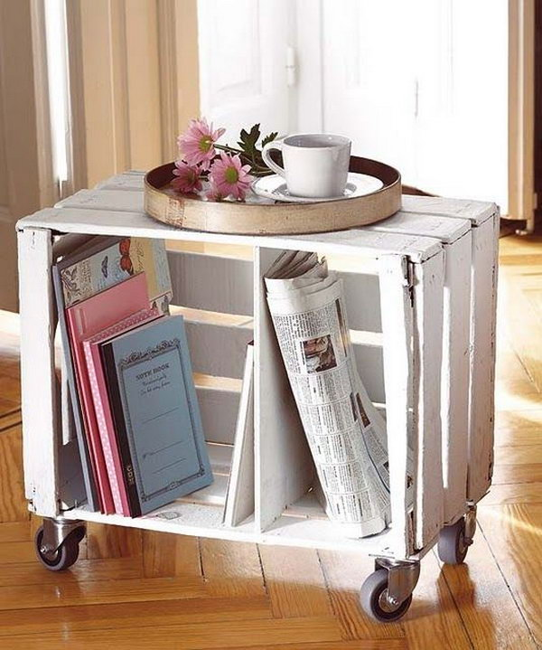 Make a mini library with painted milk crates and casters. A great idea for kids.