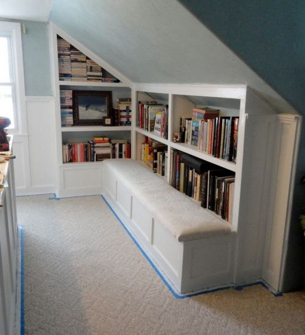 Attic Book Storage Idea. Fill the unused attic space with books. Create a cozy home library for your small room.