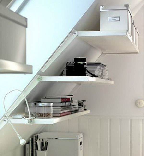 The metal bracket can be locked into different angles to support shelving. It allows you to turn the area in a pitched attic space into a useful storage space.