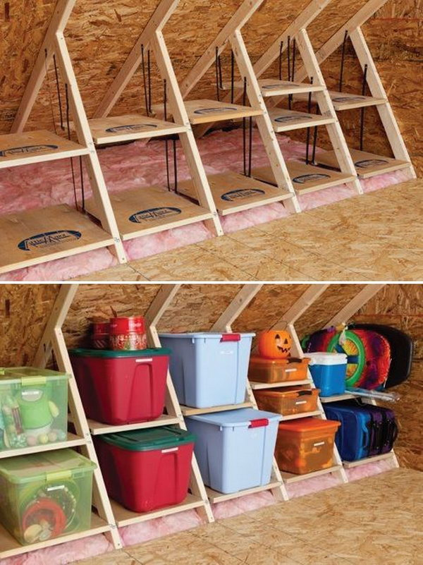 DIY Wooden Attic Shelves. By using the structures in the attic room, turn your attic into a reliable storage space.