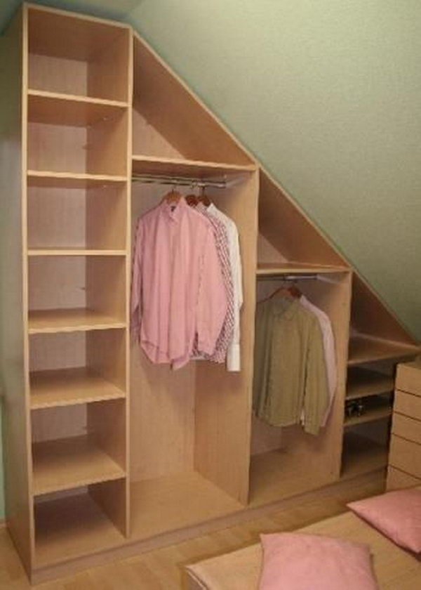 Attic Closet Storage. If you are converting your attic into a living space, include some closet space in your design. Create your attic closet following the layout of the attic space.
