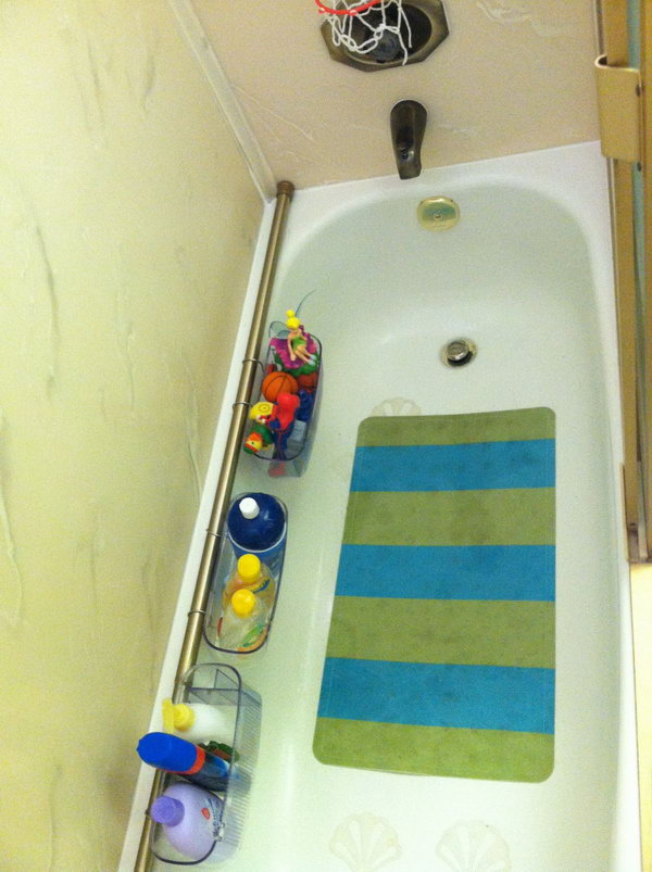 Bathtub Organizers. Place the shower curtain rod on the wall beside bathtub. Hang the baskets on this rod for storage, so the toys and shampoos and soaps aren't all over the place.