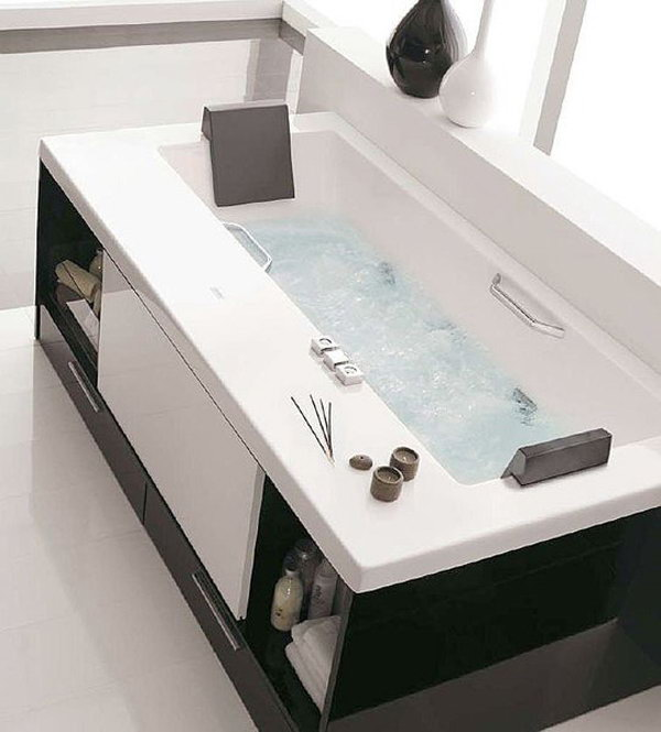 Diy bathtub surround storage ideas for Extra bathroom ideas