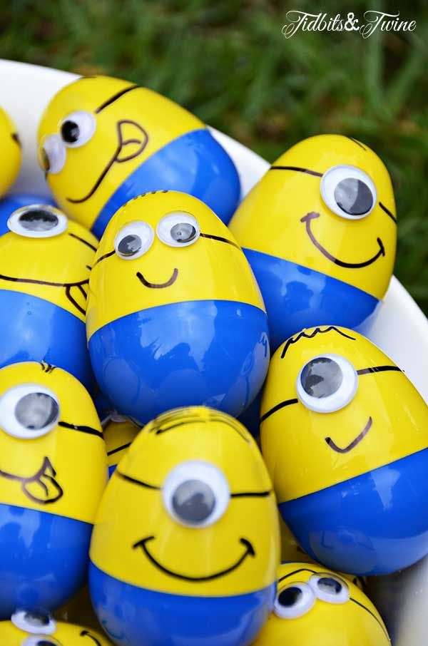 Minion Egg Hunt Game. Each child had to find 4 plastic Minion eggs numbered 1-4, with each numbered egg containing a different prize.