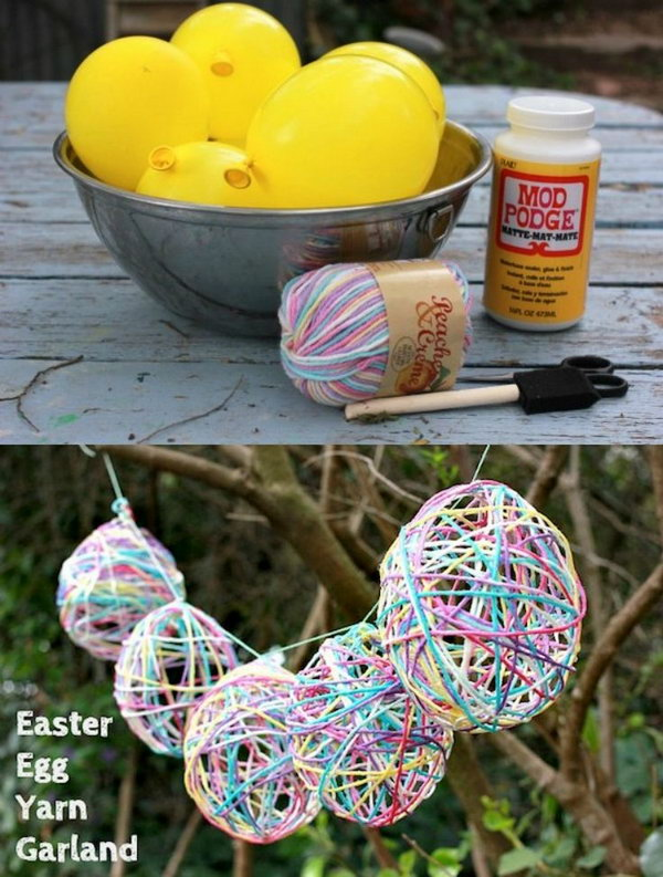 Mod Podged Yarn Easter Egg Garland. Weave some string though these yarn covered Easter eggs and hang it up. It's perfect for your Easter party decoration.