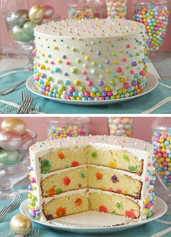 Easter Polka Dot Cake. Decorate both the outside and inside of the cake with a fun dot pattern. It's a perfect way to end a special Easter dinner, or you can use this technique to make any special occasion cake.