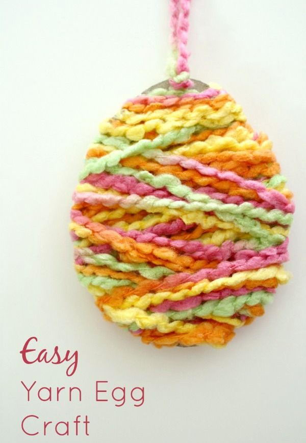 Yarn Egg Easter Craft. These Easter crafts are fun and easy for kids to make. It's a great idea for a no-mess activity during Easter parties, class activities or large group gatherings.