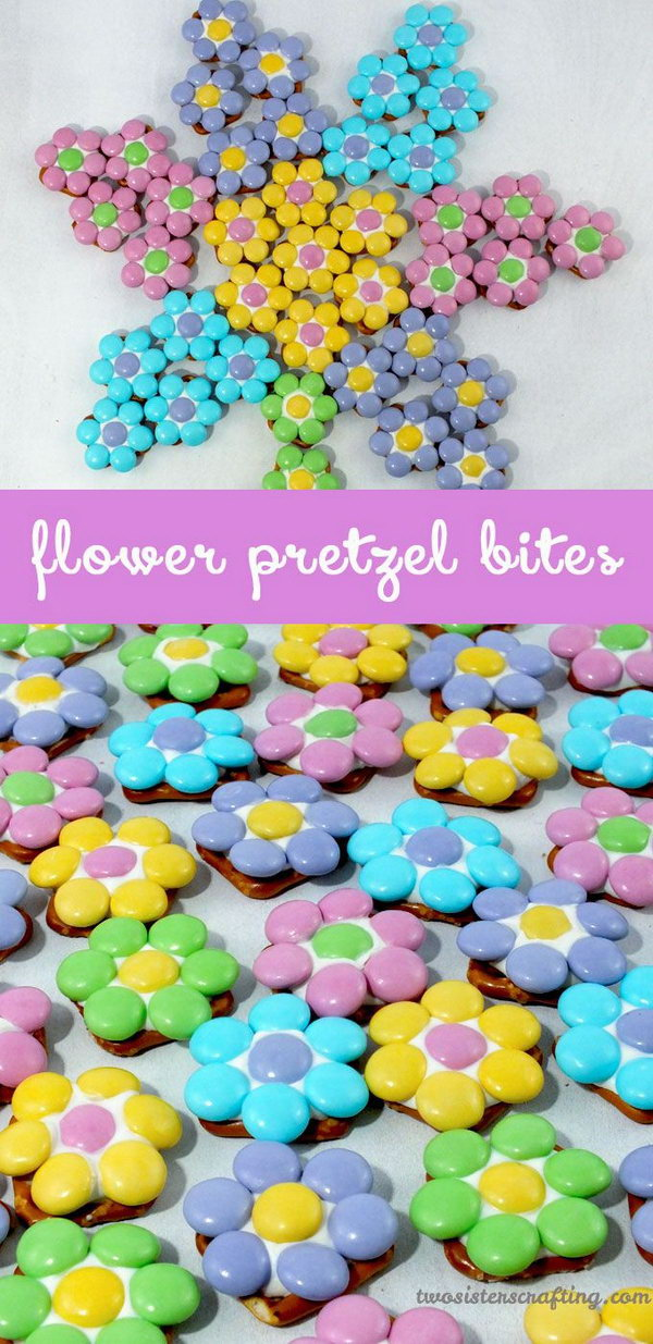 Flower Pretzel Bites. These springtime snackS turned out so beautifully and are perfect for an Easter party.