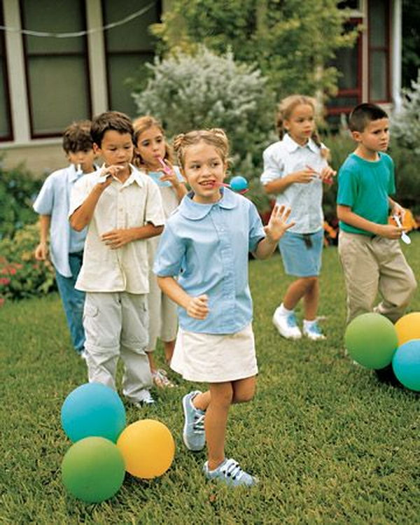Egg and Spoon Race. Have children balance an egg on a spoon and race across the lawn. It's a fantastic way of keeping the kids and adults entertained at your party.