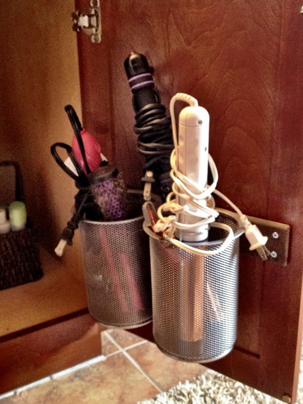 Office Pencil Holders for Heating Appliances. Install these large pencil cups on the inside of cabinet door. It makes great storage for curling irons.