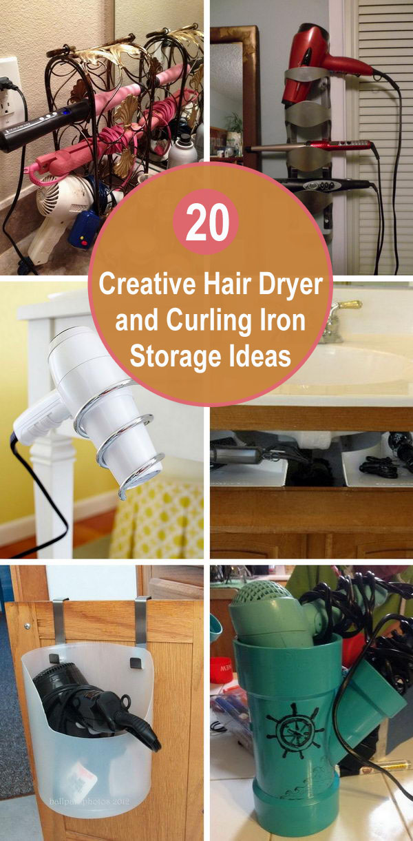 Creative Hair Dryer and Curling Iron Storage Ideas.