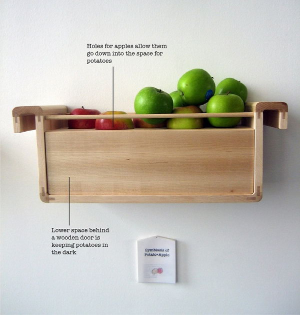 Store Apples and Potatoes Together. Ethylene gas from apples keeps potatoes from sprouting. It's clever idea to help the potatoes last longer.