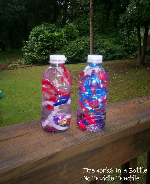 Fireworks in a Bottle. Fill the empty water bottle with red, white, and blue curling ribbon, glitter stars, confetti and buttons. Perfect for a patriotic holiday.