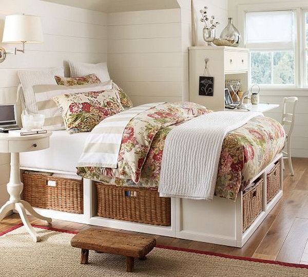 Wicker Under Bed Storage. The wicker baskets under the bed provide a cool idea to hide all the clutter in a very neat way.