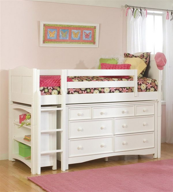 Maximize space with the bookcase and Wakefield 7-drawer dresser under the loft-style bed. A cute bedroom storage idea for kids.