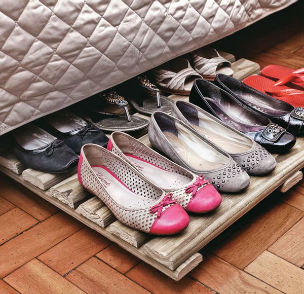 Wood Rack Shoe Organizer Under Bed. Unexpensive and functional storage solution for your shoe collection.