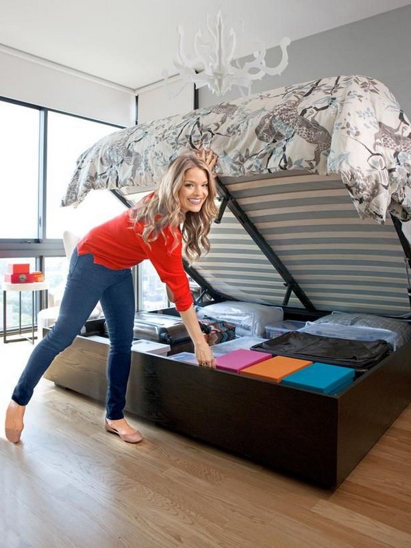 Secret Storage Under Hydraulic Bed. Use a hydraulic system to lift up the mattress easily to reveal additional storage space for your home. Keep plastic bins, suitcases and out-of-season stuff organized and out of sight.