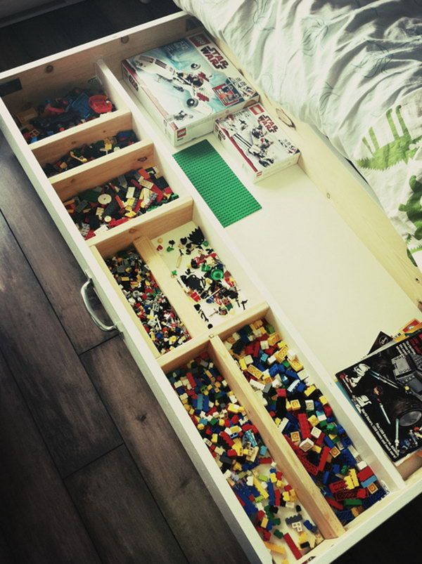 Built a Lego storage unit on casters to roll under the bed. The task of sorting and storing these little building bricks will be so easy.