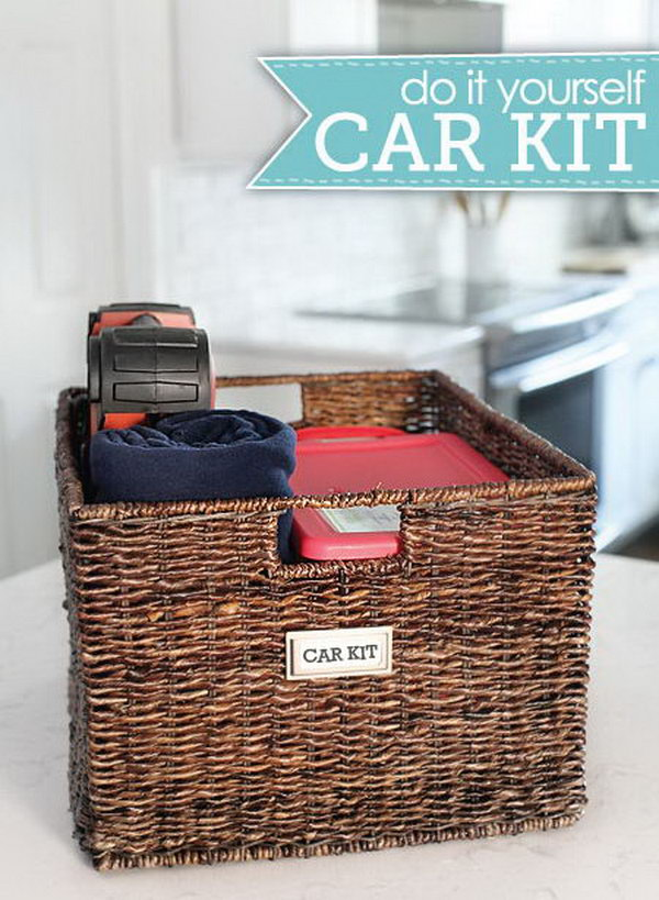 DIY Car kit: Prepare a good-sized wicker basket with two plastic boxes for the smaller items in. The remaining space can be a good storage for other bigger things, like a blanket, bottles, a first aid kit or anything else.